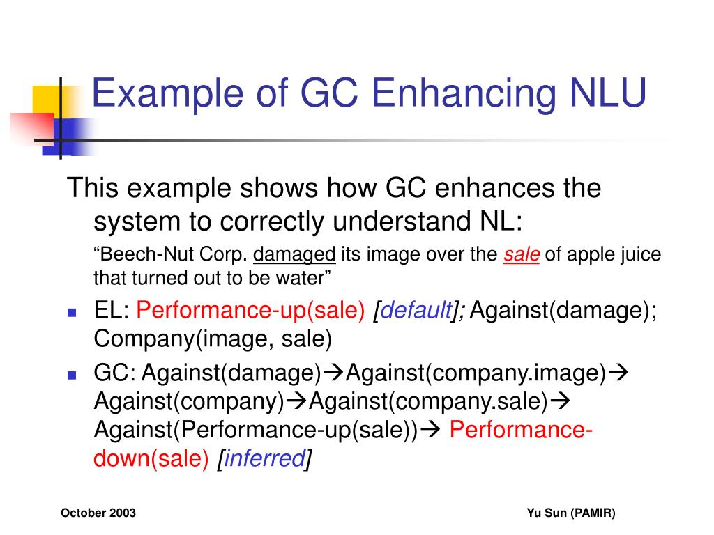 Example of GC Enhancing NLU