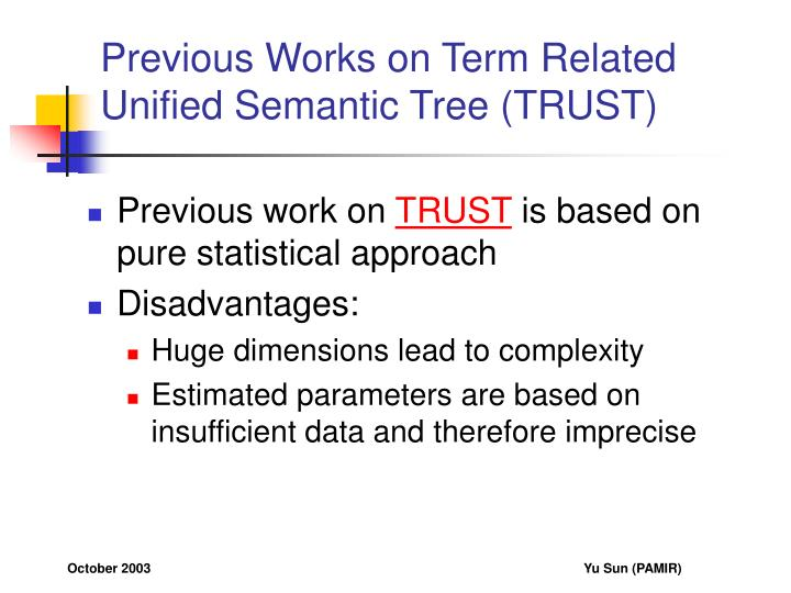 Previous works on term related unified semantic tree trust