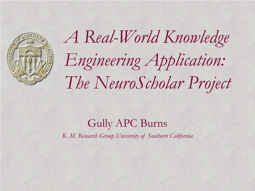 a real world knowledge engineering application the neuroscholar project