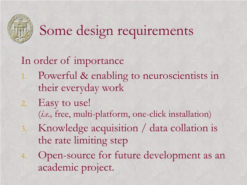 Some design requirements