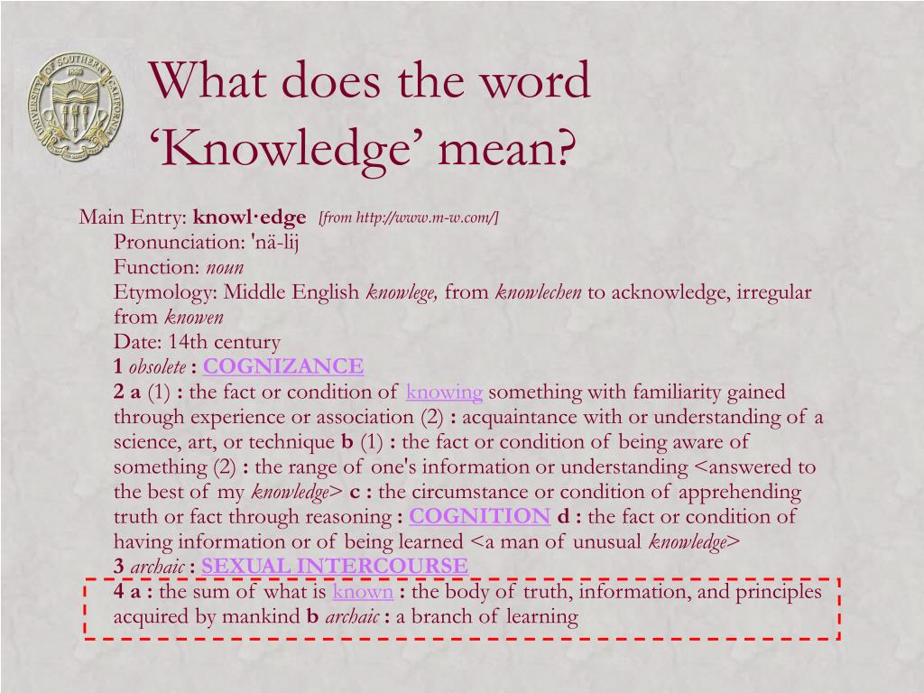 What does the word  'Knowledge' mean?