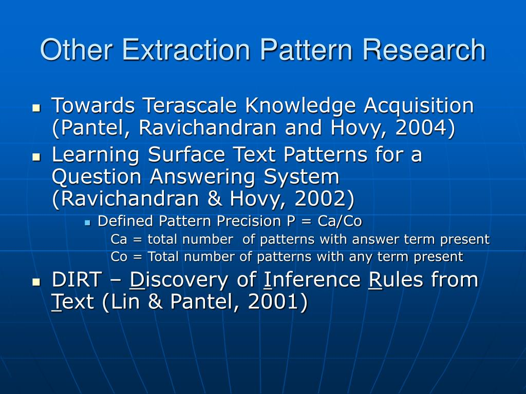 Other Extraction Pattern Research