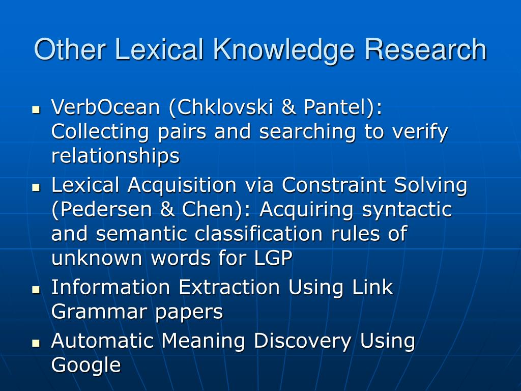 Other Lexical Knowledge Research