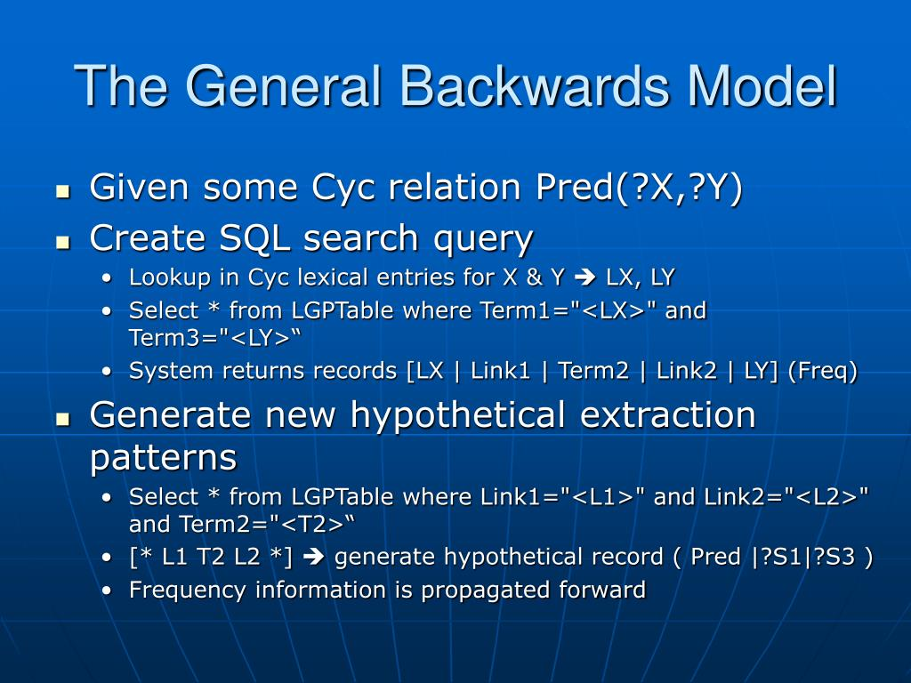 The General Backwards Model