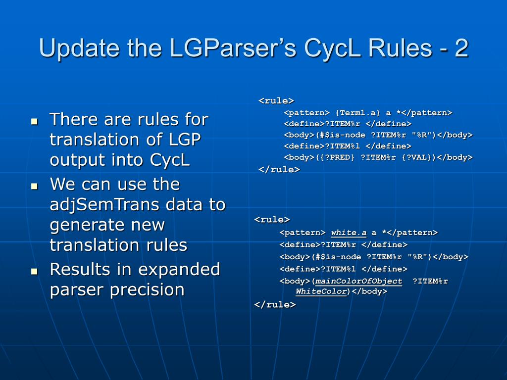 Update the LGParser's CycL Rules - 2