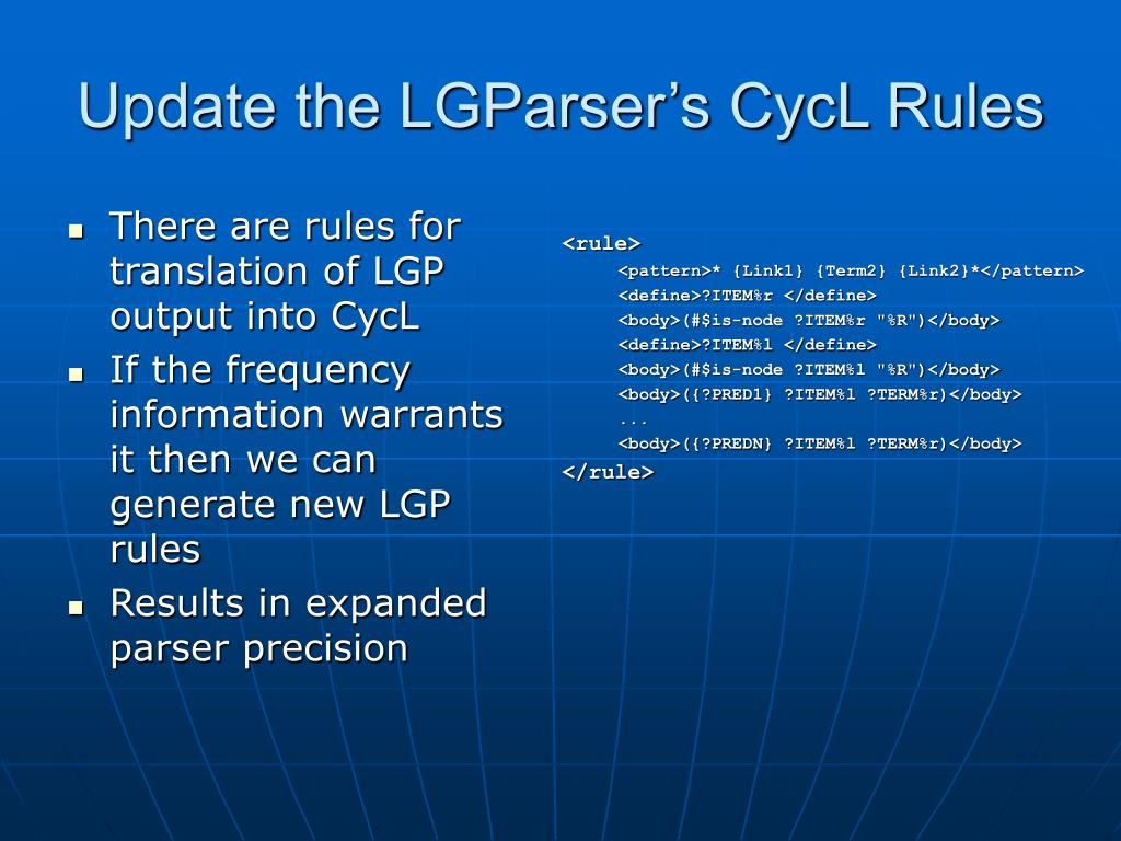 Update the LGParser's CycL Rules