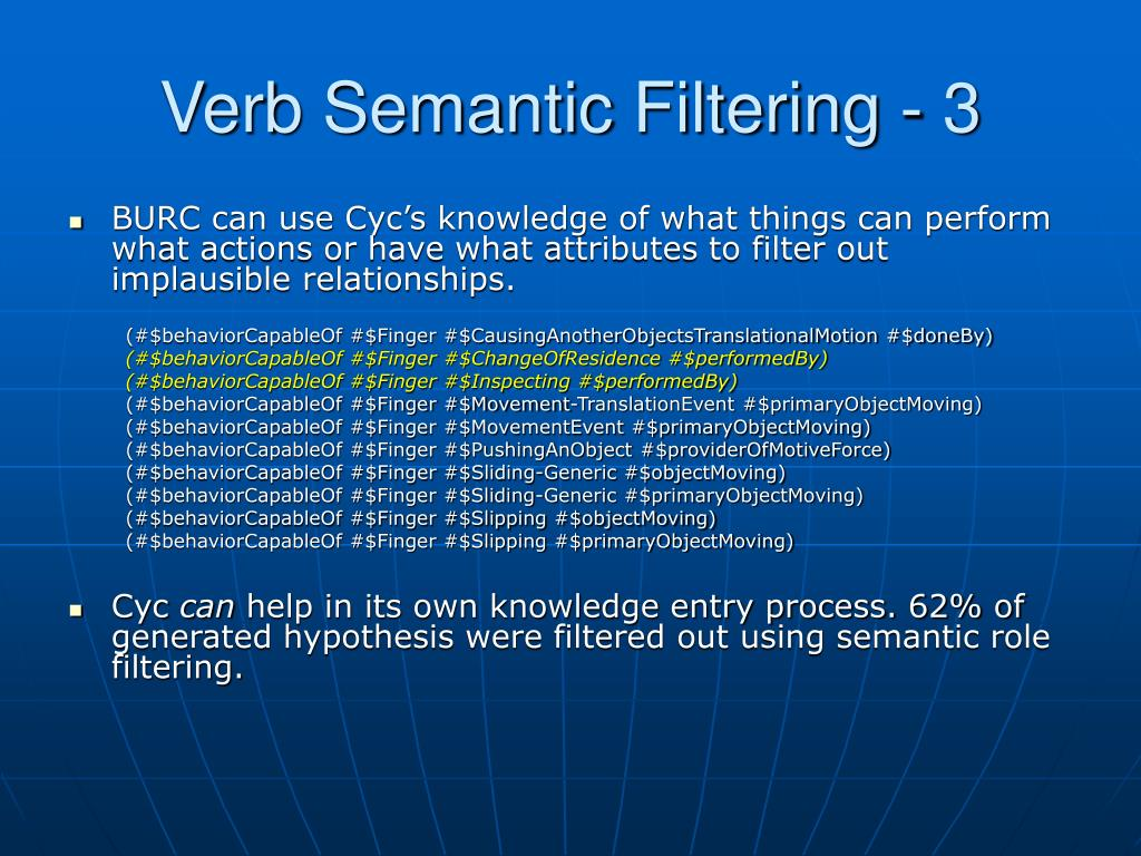 Verb Semantic Filtering - 3
