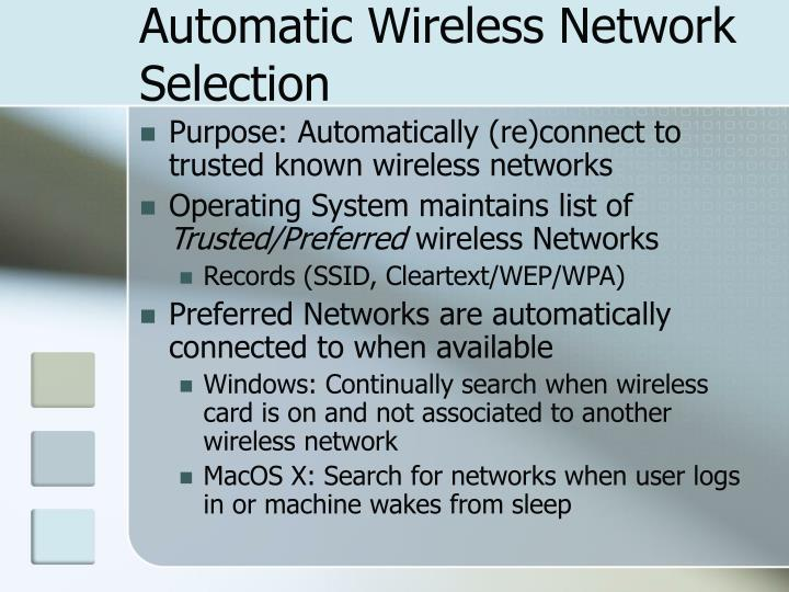 Automatic Wireless Network Selection