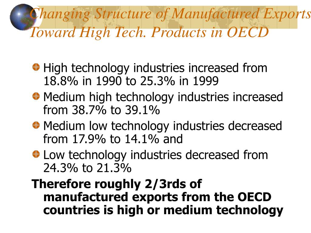 Changing Structure of Manufactured Exports Toward High Tech. Products in OECD