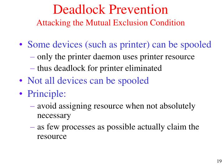 Deadlock Prevention