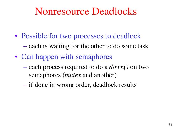 Nonresource Deadlocks