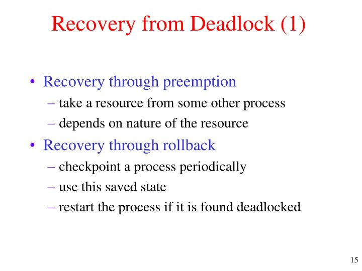 Recovery from Deadlock (1)