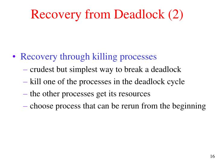 Recovery from Deadlock (2)