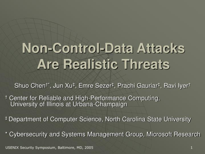 Non control data attacks are realistic threats