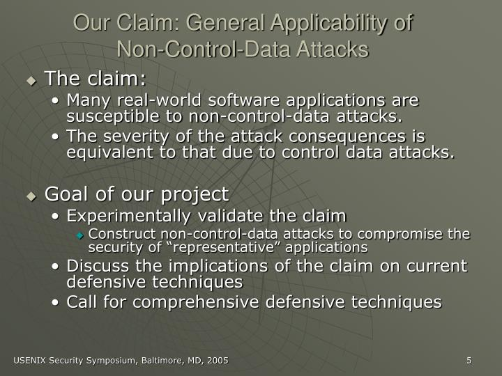 Our Claim: General Applicability of