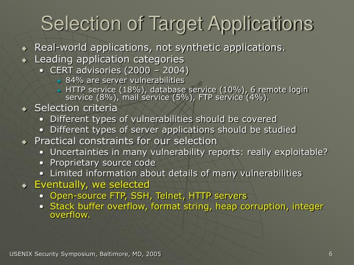 Selection of Target Applications