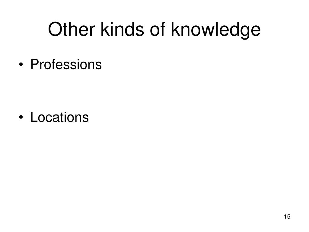 Other kinds of knowledge