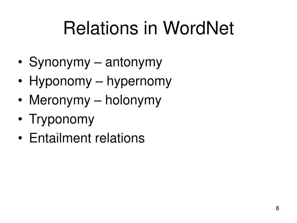 Relations in WordNet