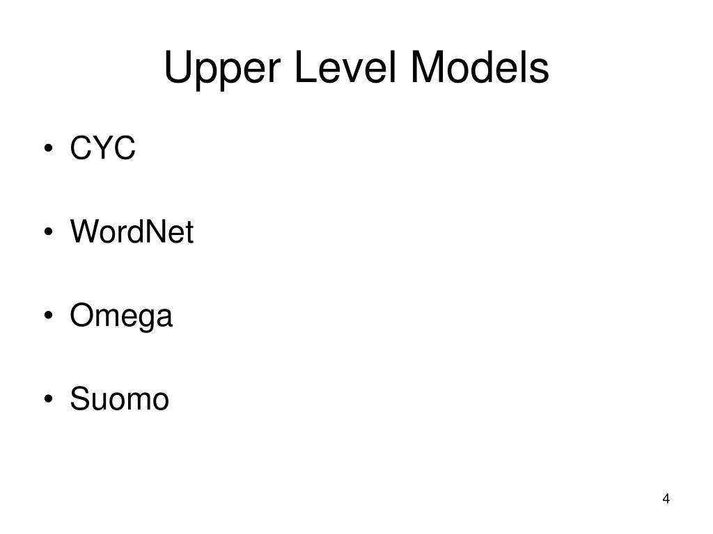Upper Level Models