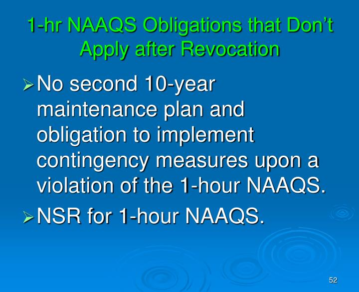 1-hr NAAQS Obligations that Don't Apply after Revocation