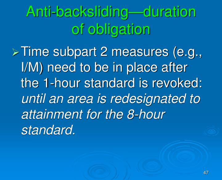 Anti-backsliding—duration