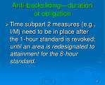 anti backsliding duration of obligation