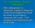 anti backsliding duration of obligation1