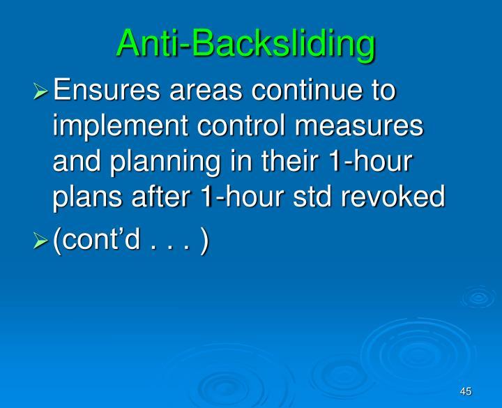 Anti-Backsliding