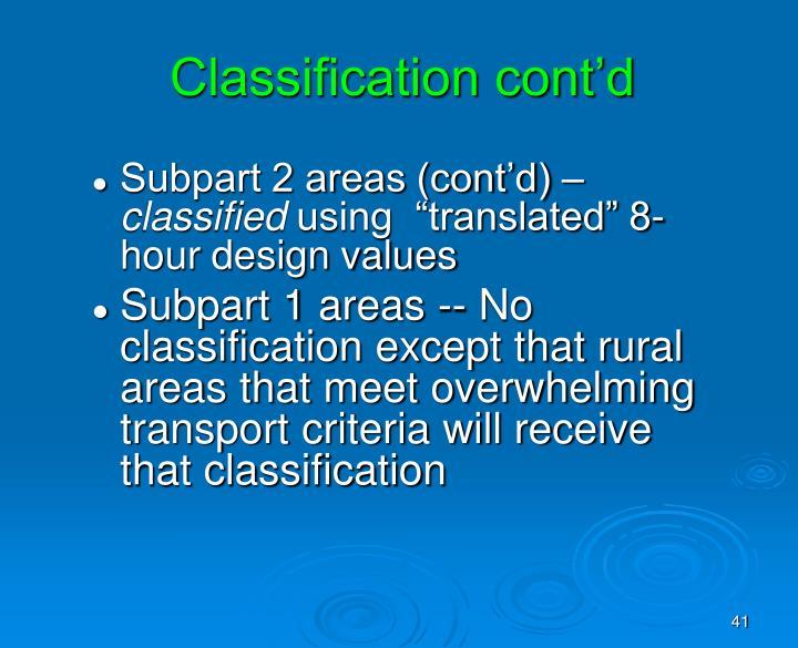 Classification cont'd