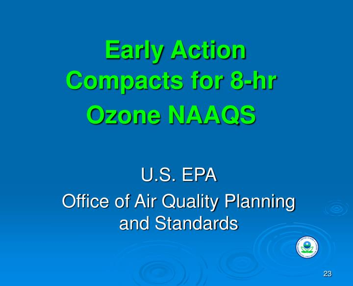 Early Action Compacts for 8-hr Ozone NAAQS