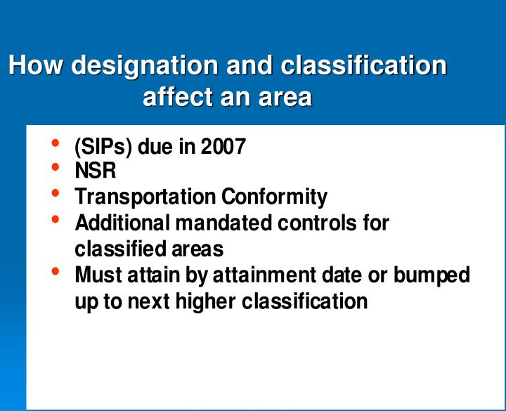 How designation and classification affect an area