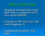 nsr in phase ii rule
