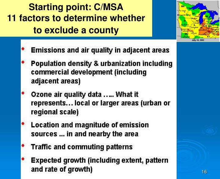 Starting point: C/MSA