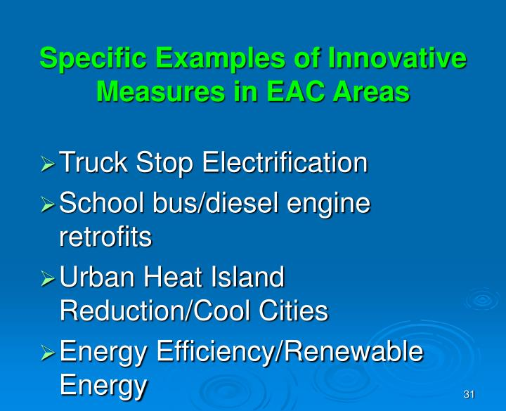 Specific Examples of Innovative Measures in EAC Areas