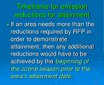 timeframe for emission reductions for attainment