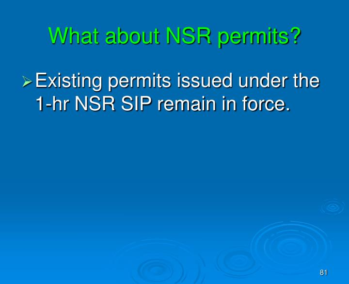 What about NSR permits?
