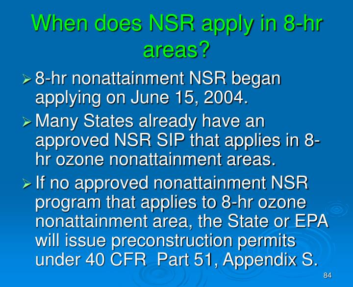 When does NSR apply in 8-hr areas?