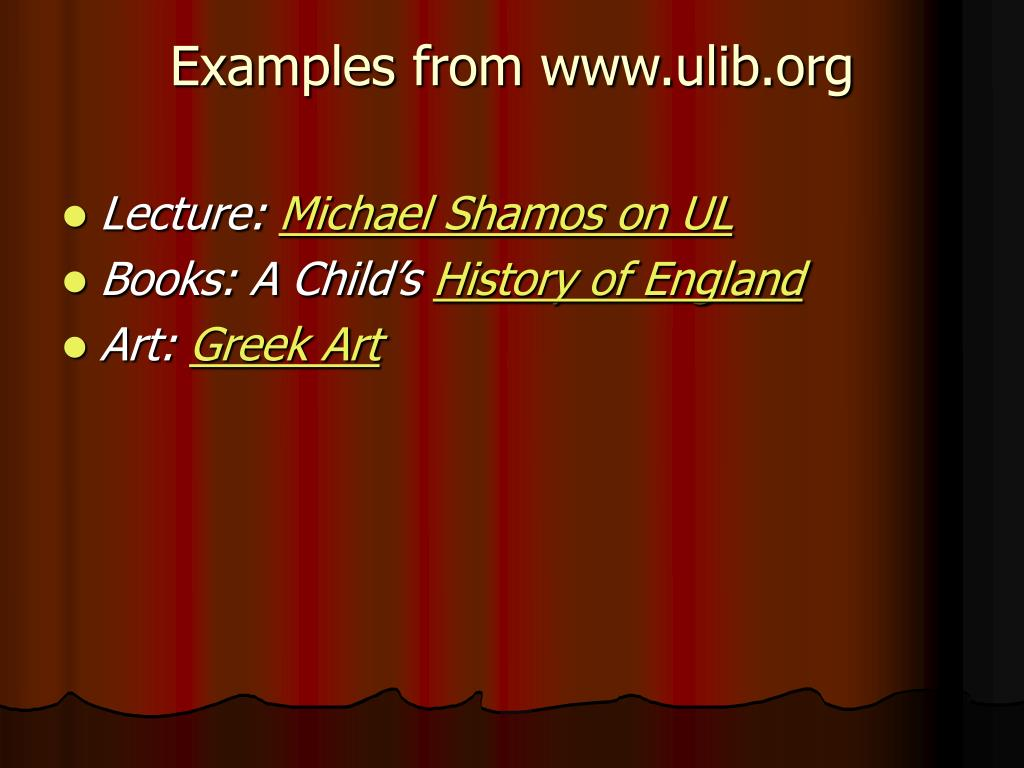 Examples from www.ulib.org