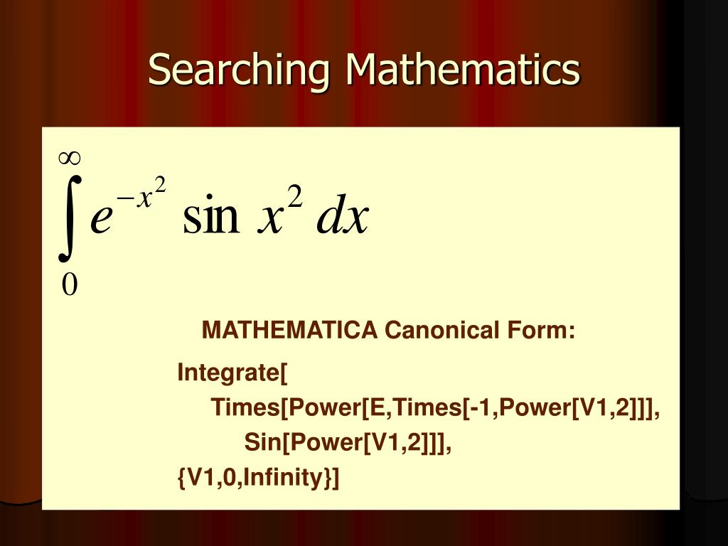 MATHEMATICA Canonical Form: