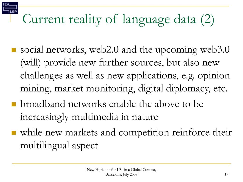 Current reality of language data (2)