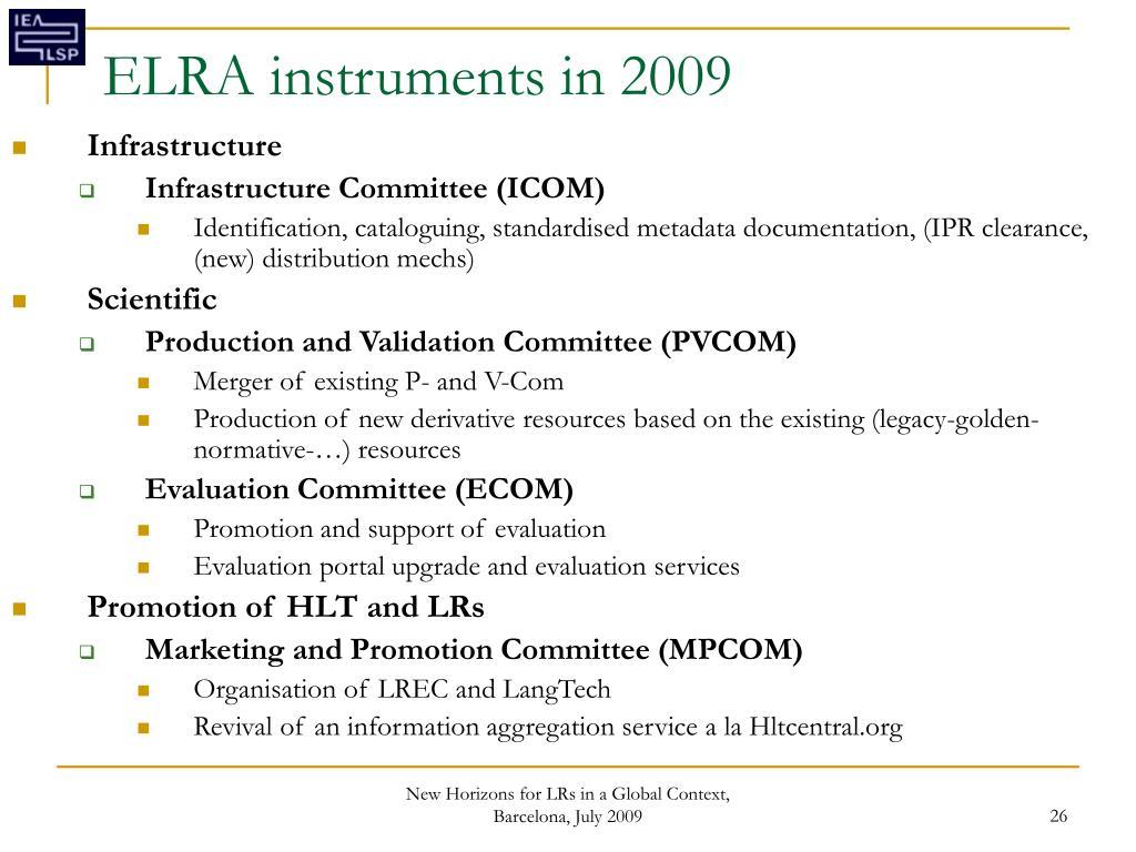 ELRA instruments in 2009