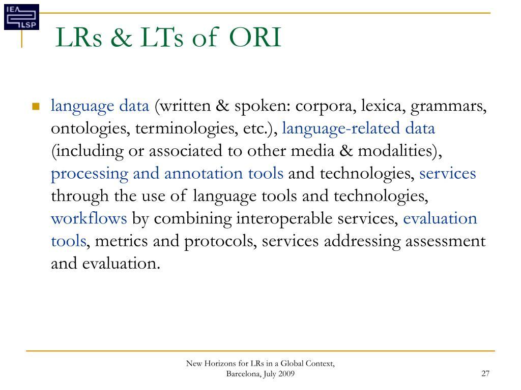 LRs & LTs of ORI