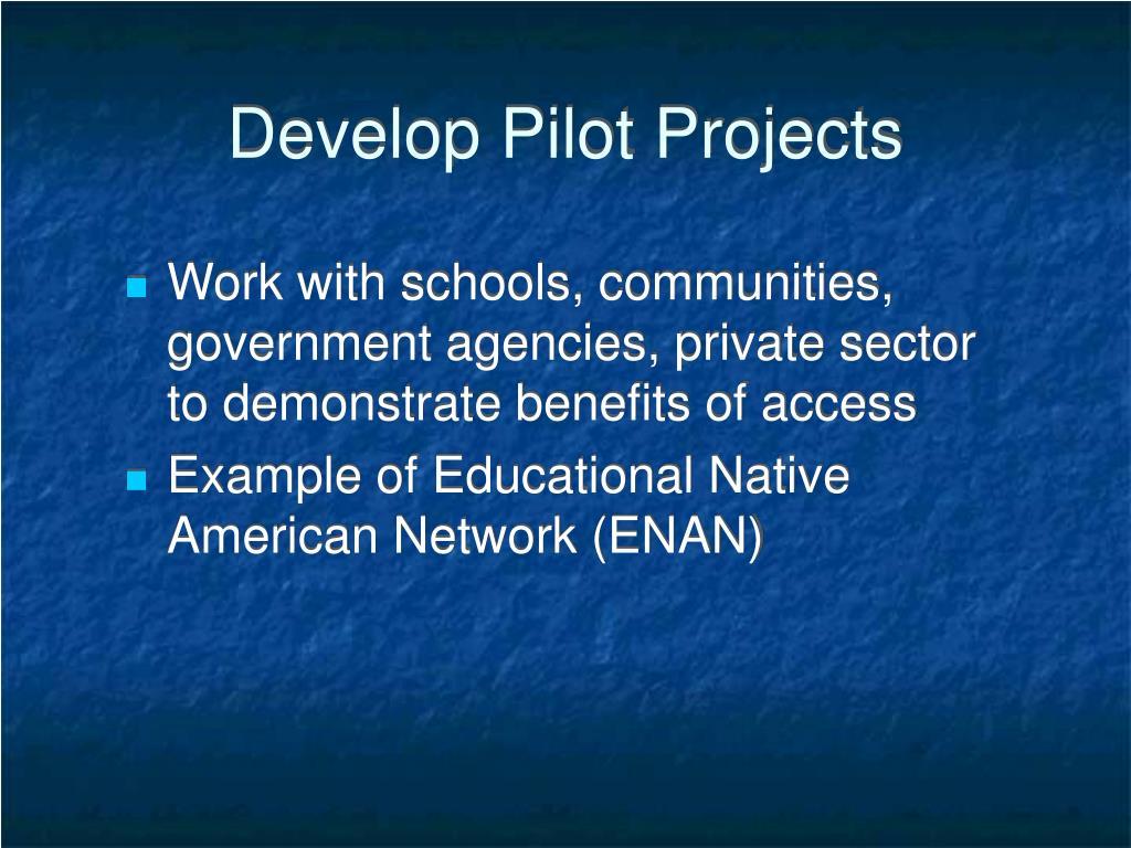 Develop Pilot Projects