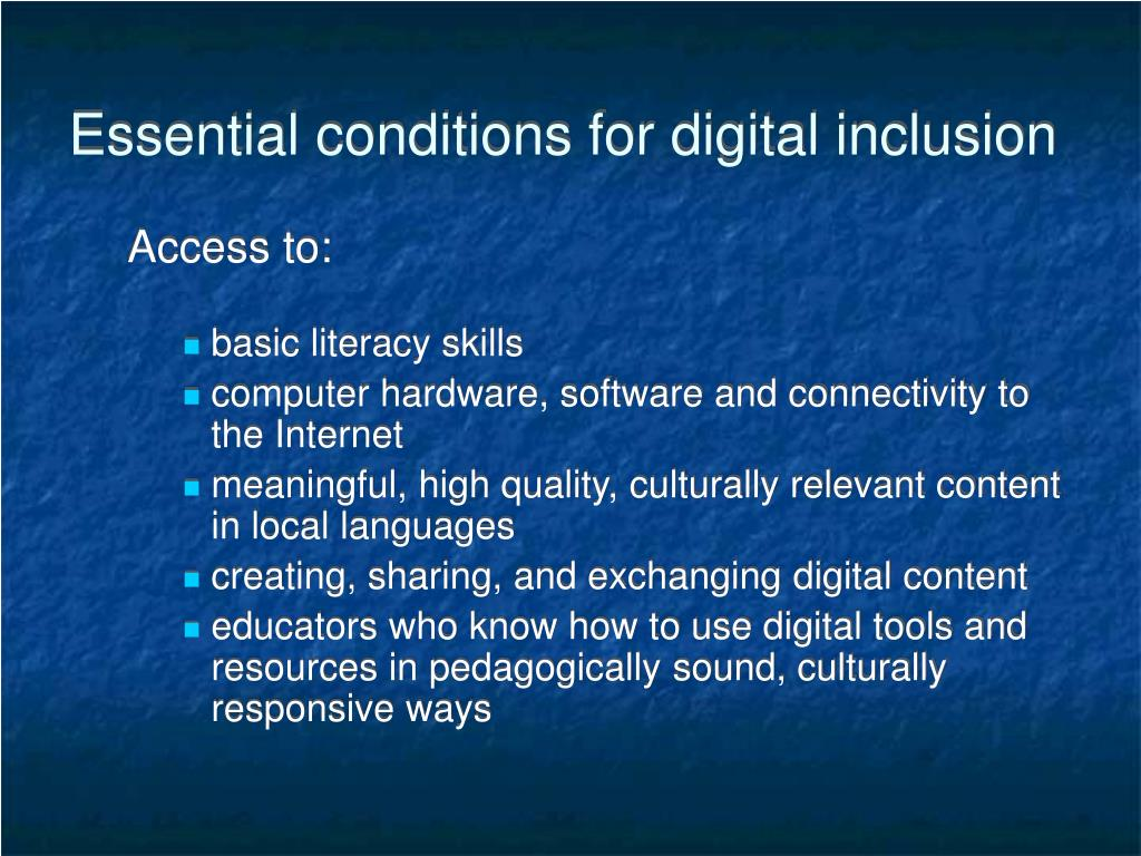 Essential conditions for digital inclusion