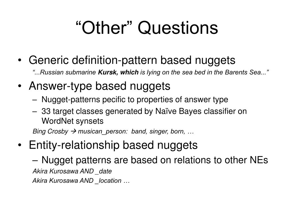 """""""Other"""" Questions"""