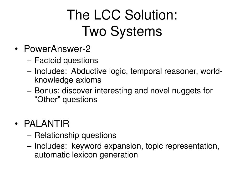 The LCC Solution: