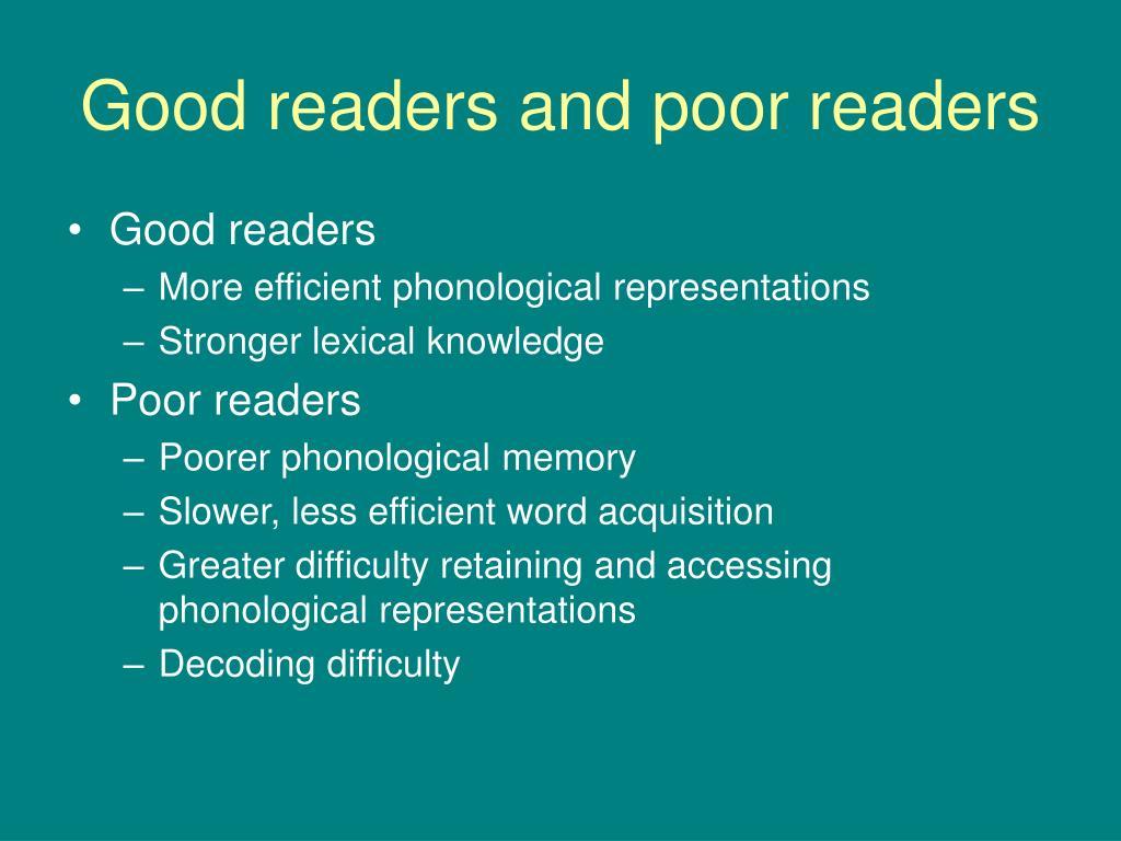 Good readers and poor readers