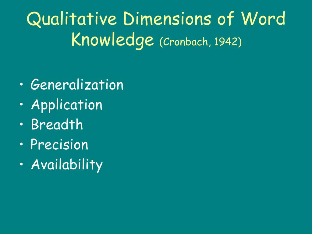 Qualitative Dimensions of Word Knowledge