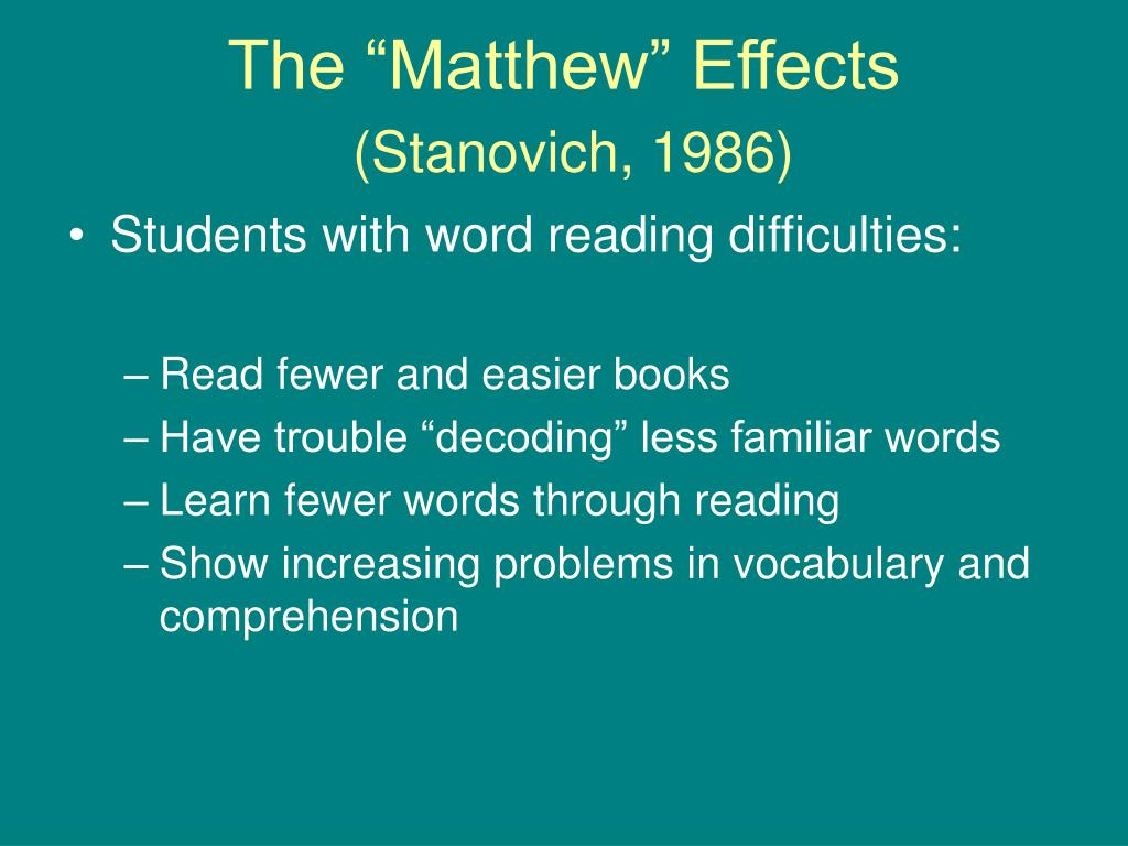 "The ""Matthew"" Effects"