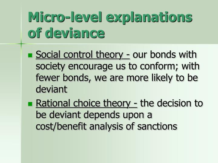 Micro-level explanations of deviance